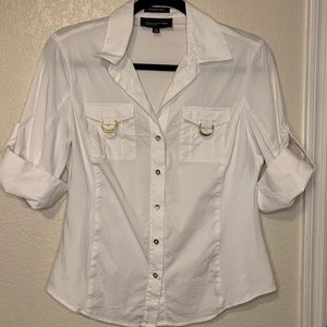 Jones New York Stretch White Button Up Blouse